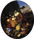 still life famous paintings - still life of fruit and flowers by adelheid dietrich