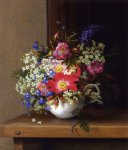 adelheid dietrich art - still life with dog roses larkspur and bell flowers in a white cup by adelheid dietrich