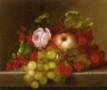 adelheid dietrich art - still life with peach grapes and rosehips by adelheid dietrich