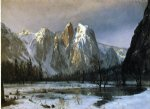 albert bierstadt cathedral rocks yosemite valley california painting