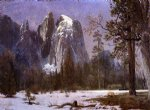 albert bierstadt cathedral rocks yosemite valley winter painting