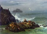 albert bierstadt seal rocks pacific ocean california painting