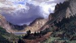 storm in the rocky mountains mt. rosalie by albert bierstadt painting