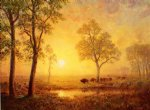 albert bierstadt sunset on the mountain painting-37781