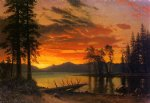 albert bierstadt sunset over the river painting-37783