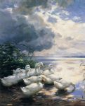 ducks in the morning by alexander koester painting