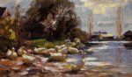 ducks on a riverbank on a sunny afternoon by alexander koester painting