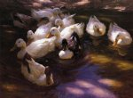eleven ducks in the morning sun by alexander koester painting