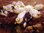 alexander koester acrylic paintings - max enten am teich by alexander koester
