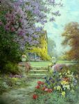 lilacs & roses by alfred de breanski painting