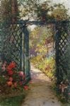 the garden gate by alfred de breanski painting
