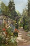 the summer garden by alfred de breanski painting