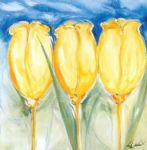 alfred gockel 3 yellow tulips painting