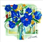 alfred gockel art - blue flowers in vase by alfred gockel