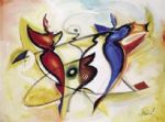 angel watercolor paintings - dancing angels by alfred gockel