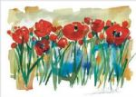 alfred gockel watercolor paintings - field of poppies by alfred gockel