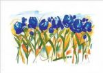 alfred gockel watercolor paintings - field of tulips by alfred gockel