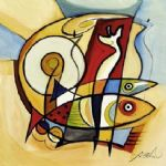 sun fish ii by alfred gockel painting