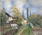 alfred sisley original paintings - a path at les sablons by alfred sisley