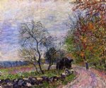 alfred sisley along the woods in autumn painting