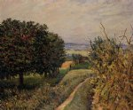 alfred sisley among the vines near louveciennes painting
