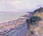 cliffs at penarth evening low tide by alfred sisley painting
