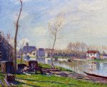 construction site at matrat moret by alfred sisley painting