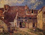 alfred sisley courtyard of a farm at saint painting