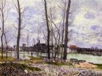 flood at moret by alfred sisley painting