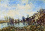 flooded field by alfred sisley painting