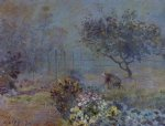 foggy morning voisins by alfred sisley painting