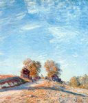 alfred sisley watercolor paintings - hill path in sunlight by alfred sisley
