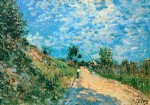 alfred sisley watercolor paintings - hill path by alfred sisley