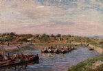 alfred sisley idle barges on the loing canal at saint art