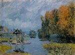 laundry houses at bougival by alfred sisley acrylic paintings
