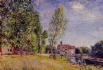 alfred sisley famous paintings - matratat s boatyard moret by alfred sisley
