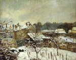alfred sisley original paintings - snow effect at louveciennes by alfred sisley