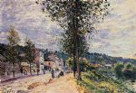 street entering the village by alfred sisley painting