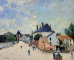 alfred sisley street in moret porte de bourgogne from across the bridge painting
