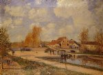 the bourgogne lock at moret spring by alfred sisley painting