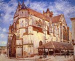 alfred sisley the church at moret afternoon painting