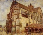 alfred sisley the church at moret icy weather painting