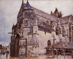 alfred sisley the church at moret rainy weather morning art