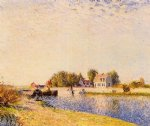 the dam on the loing by alfred sisley painting