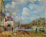 the flood at port by alfred sisley painting
