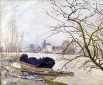 the loing at high water by alfred sisley painting