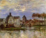 the moret bridge at sunset by alfred sisley painting