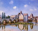 the moret bridge in the sunlight by alfred sisley painting