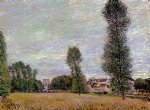 alfred sisley the village of moret seen from the fields painting