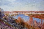 alfred sisley village of champagne at sunset art